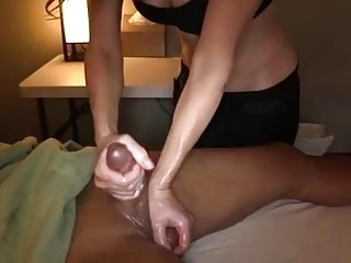 Prostate and cock massage for her horny man