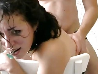 Amazing Armenian in stockings get bonded and fucked really rough