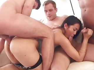 Asian beauty gets gangbanged in an orgy
