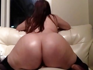 Incredible BBW in stockings rides a dildo