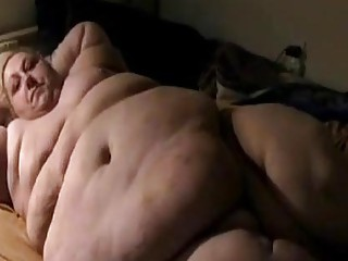Huge belly BBW using a dildo and teasing