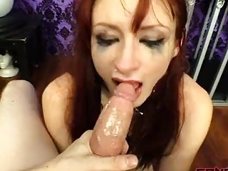 Bondage fetish clip of a redhead babe being dominated