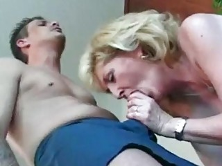 Blonde British mature riding ahrd cock