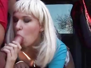 Blonde Polish hitchhiker pays with a hot blowjob for ride