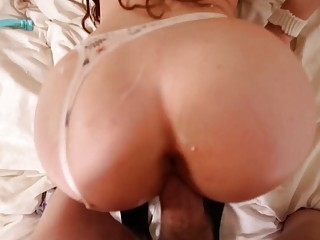 Spying on a babe who masturbates before fucking her
