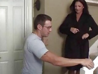 Seductive mom and her stepson fucking on the staircase