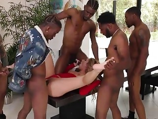 White bitch with big tits services many big black dicks