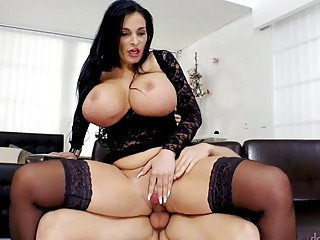 Busty gal in stockings Sandra Sturm rides a raging tool