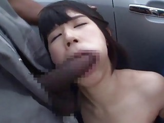 Asian chick from Japan takes on two black monster cocks