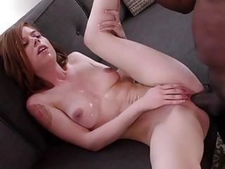 Teenie Pepper Hart blows Mandingos giant black rod interracial porn