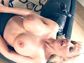 Busty MILF bangs cowgirl style with young stud in POV