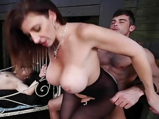 Curvy MILF Sara Jay plays with her freaky sex slaves