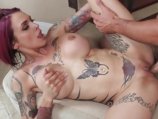 Tattooed Anna Bell enjoys her pussy being screwed hard