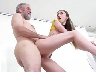 Cute chick watches porn and gets fucked by granddaddy