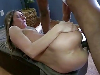 Cutie tastes and takes a big black cock