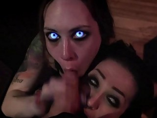 Astonishing babes with creepy eyes suck a dick