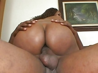 Desirable ebony with a juicy booty gets rammed