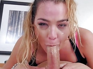 Slut devours a hard cock like a pro before facial