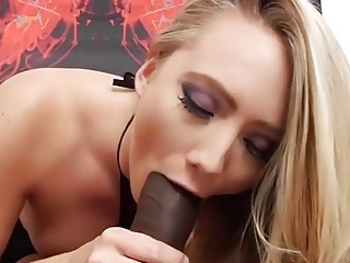 Blonde with a great booty gets a black creampie