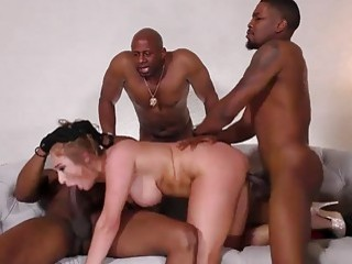 Mature slut gets gangbanged by a group of black dudes