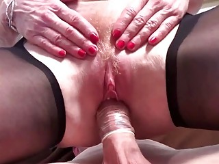 Blonde in stockings rides a rock-solid cock