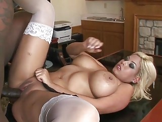 Black dude plows a horny babe in white stockings
