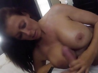 Sexy mature with big tits pleasures a cock in POV