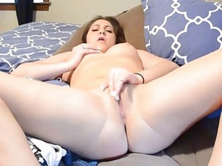 Hot beauty plays with her tight wet pussy