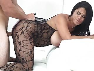 MILF in a bodysuit gets a dick inside of her