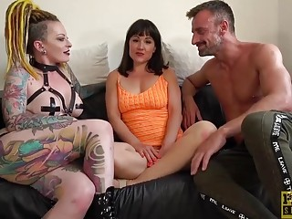 Filthy Lucy Love gags and fucks in nasty FFM threesome