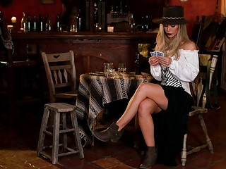 Gorgeous Nicole Aniston takes off her uniform in a bar