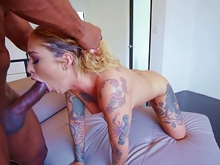 Tattooed naughty Kleio Valentien adores anal fuck with black studs