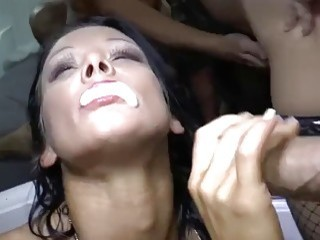 Filthy girls enjoy raw ass fuck in group sex together