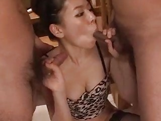 Slutty Asian naughty enjoys group sex and sucking many cocks