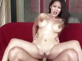 Stunning naked tattooed Asian babe with big tits fucks hard